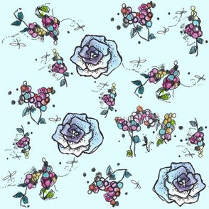 Blue Roses and Berries