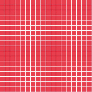 "bold coral windowpane grid 1"" reversed square check graph paper"