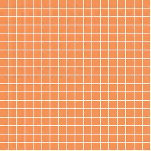 "tangerine orange windowpane grid 1"" reversed square check graph paper"