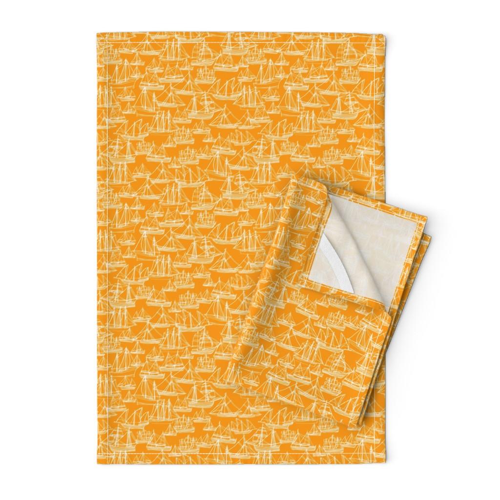 Orpington Tea Towels featuring Sailing Ships - Melon by laurenhunt