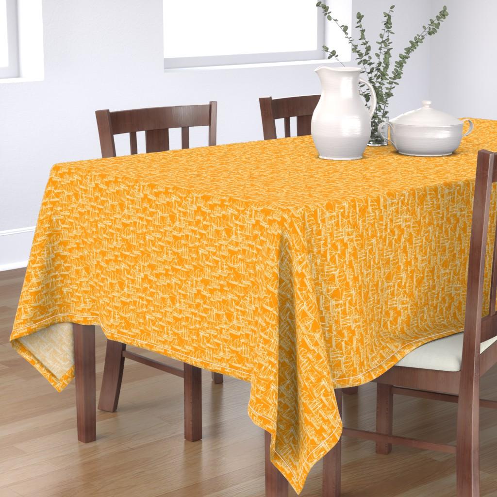 Bantam Rectangular Tablecloth featuring Sailing Ships - Melon by laurenhunt
