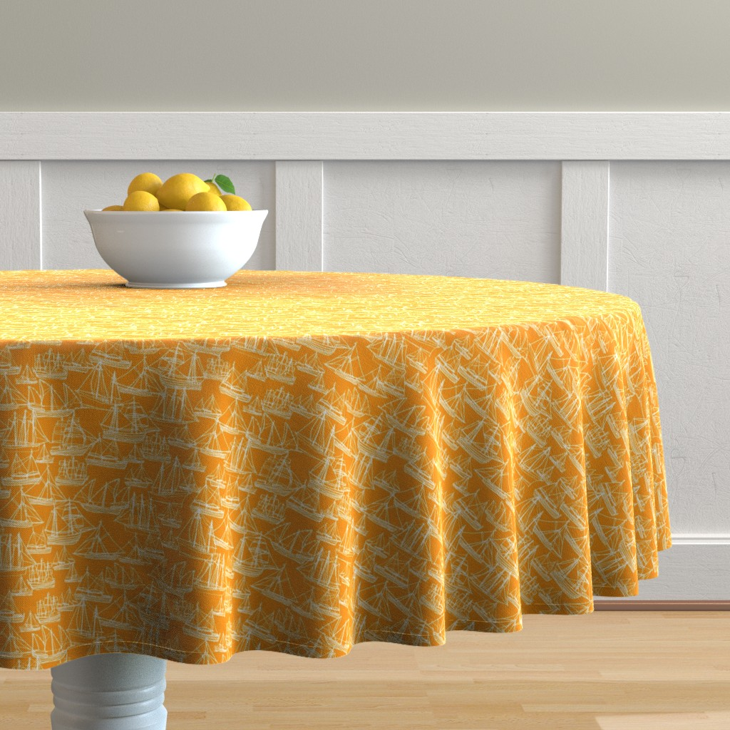 Malay Round Tablecloth featuring Sailing Ships - Melon by laurenhunt