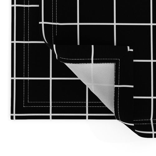 Check Cotton Sateen Sheet Set Bedding by Spoonflower Square Grid Sheets Black And White Windowpane Grid 2 by misstiina