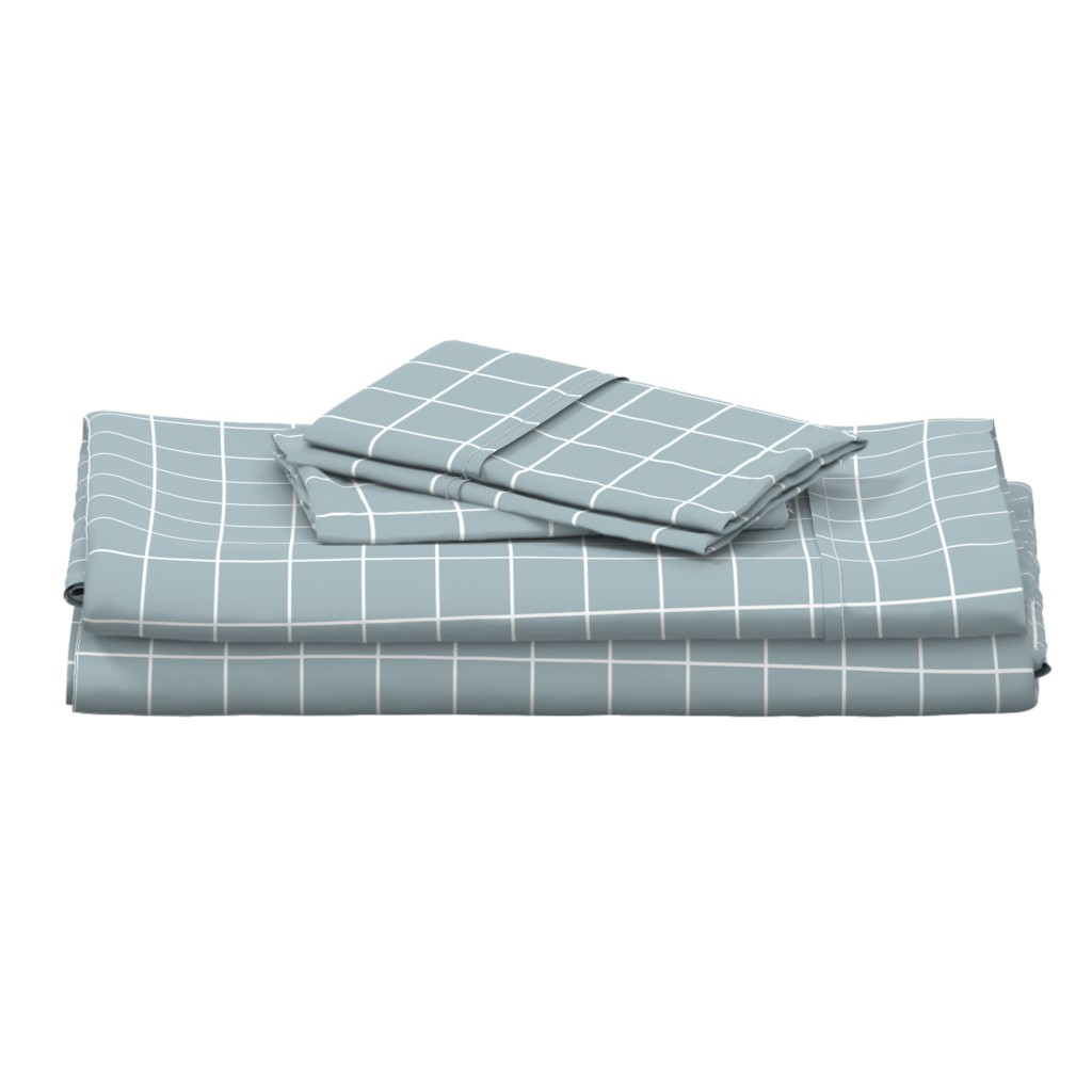 """Langshan Full Bed Set featuring slate blue windowpane grid 2"""" reversed square check graph paper by misstiina"""