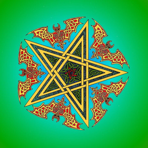 Celtic Bats Star Mandala on green Small