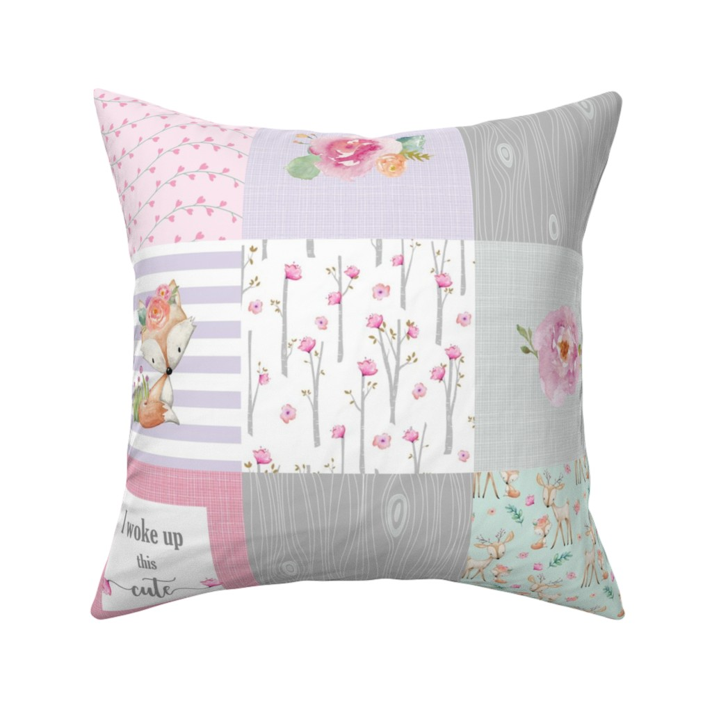 Catalan Throw Pillow featuring Pink Woodland Animals Baby Girl Quilt Top - Deer Fox - I Woke Up This Cute Patchwork Wholecloth Baby Blanket, Gray Mint Lavender by gingerlous