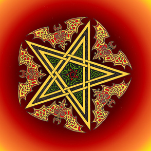 Celtic Bats Star Mandala on flame reds