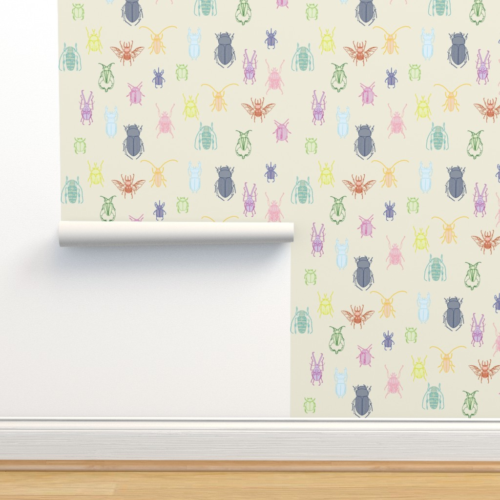 Isobar Durable Wallpaper featuring beetles in color on natural by eleventy-five