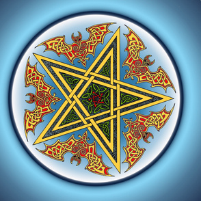 Celtic Bats Star Mandala on blue