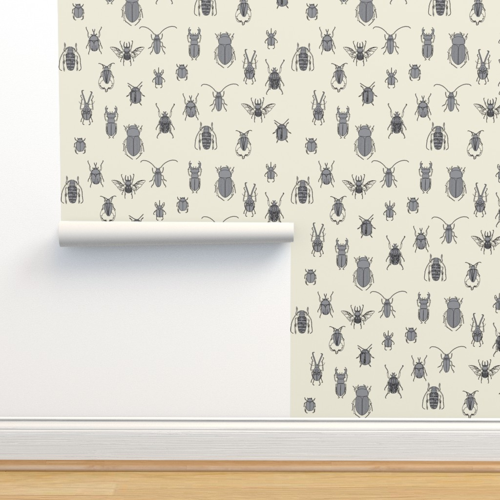 Isobar Durable Wallpaper featuring beetles black and grey on natural by eleventy-five