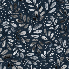 indigo floral snowberries with leaves