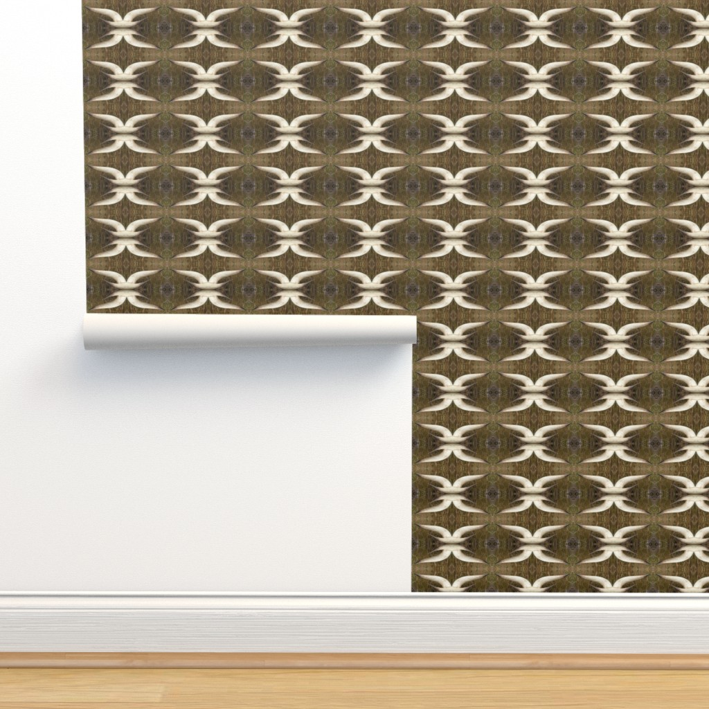 Isobar Durable Wallpaper featuring Longhorn - brown and white by positive_space_unlimited