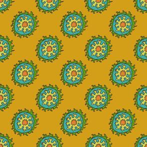 single suzani motif OCHRE GREEN TURQ CELERY-01