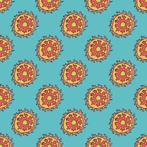 single suzani motif TURQ PINK CELERY-01