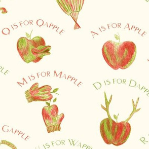 A is for Apple  (a silly apple alphabet) on pale cream (FFFBEF)