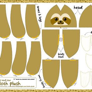 Cut & Sew Sloth Plush Brown