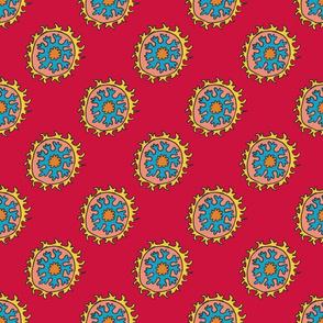 single suzani motif RED YELLOW BLUE PEACH-01