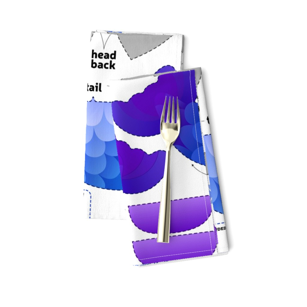 Amarela Dinner Napkins featuring Cut & Sew Gray Mer-kitty Plush by sewdesune