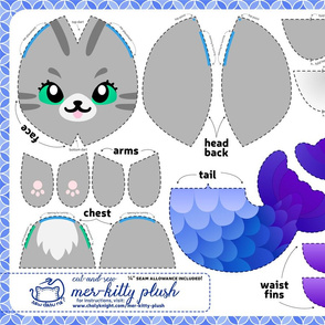 Cut & Sew Gray Mer-kitty Plush