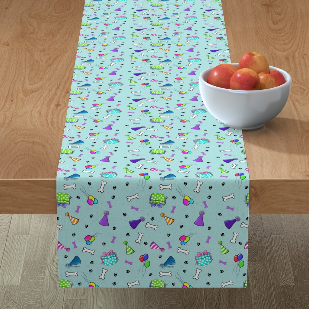 Minorca Table Runner featuring KiniArt Dog Lovers Birthday Mint by kiniart