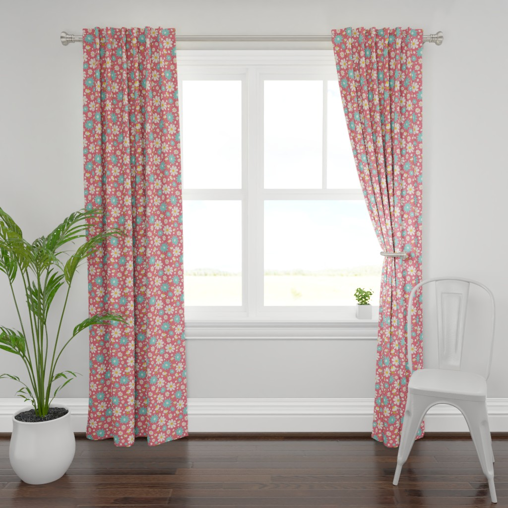 Plymouth Curtain Panel featuring Daisy Lou Spring Florals by studiojulieann