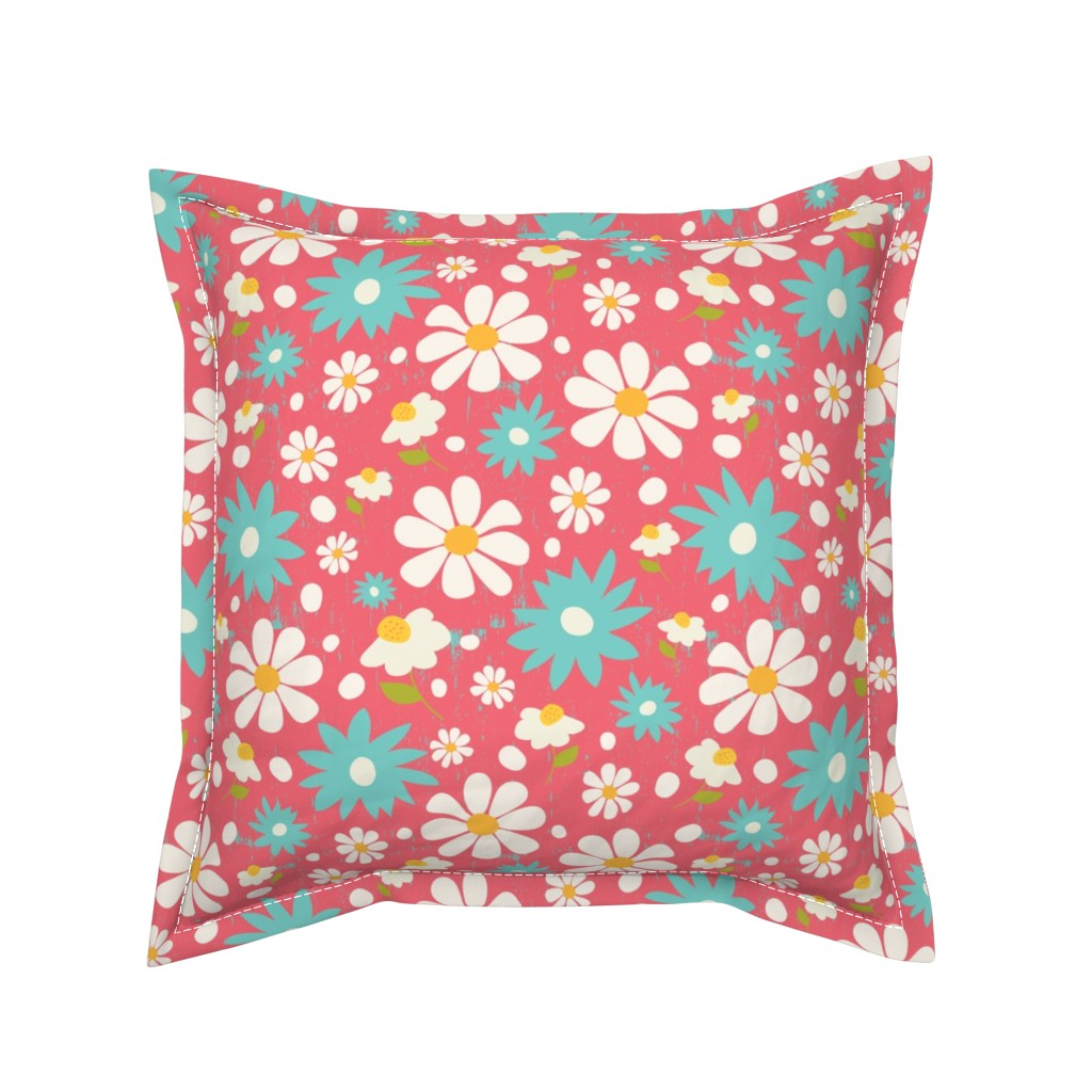 Serama Throw Pillow featuring Daisy Lou Spring Florals by studiojulieann