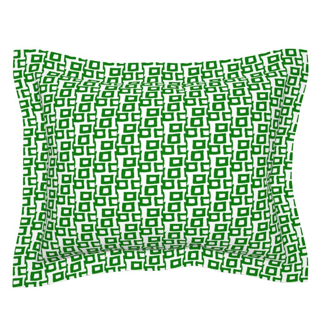 Sebright Pillow Sham featuring Hatari In Green & White 25 by tabasamu_design