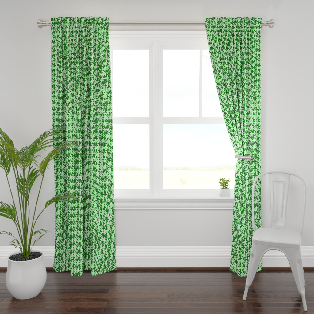 Plymouth Curtain Panel featuring Hatari In Green & White 25 by tabasamu_design