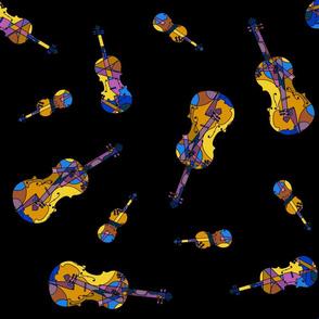 mosaic violins on black (D multicolour 8b)