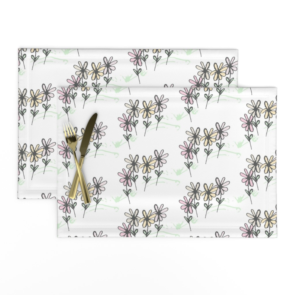 Lamona Cloth Placemats featuring Delicate Daisy Flower Meadow  by studiojulieann