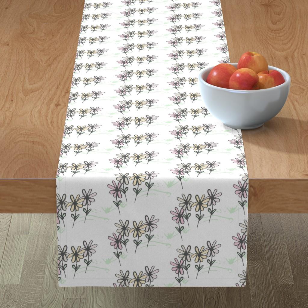 Minorca Table Runner featuring Delicate Daisy Flower Meadow  by studiojulieann