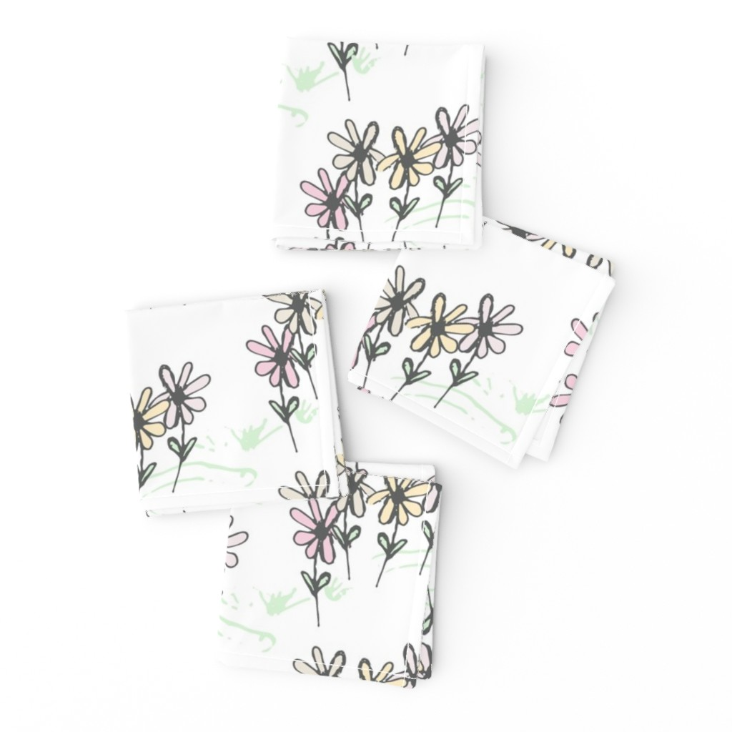 Frizzle Cocktail Napkins featuring Delicate Daisy Flower Meadow  by studiojulieann