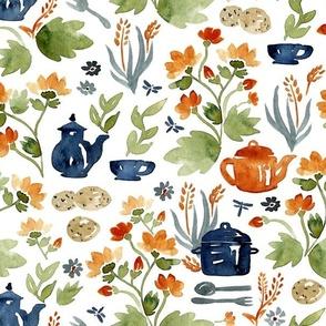 garden teatime in watercolor