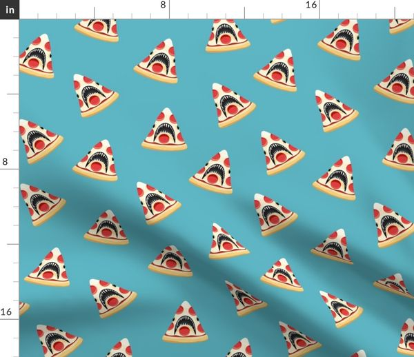 Fabric by the Yard Pizza Shark - blue