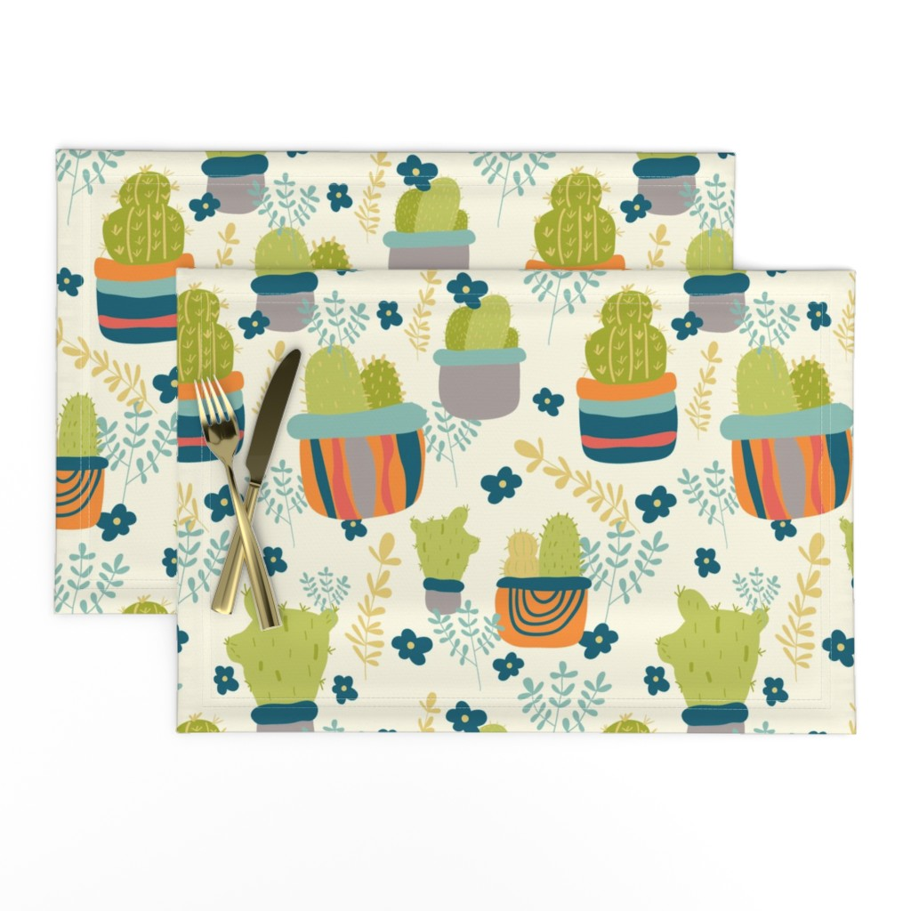 Lamona Cloth Placemats featuring Cactus Patch in Pots and Floral Background by studiojulieann