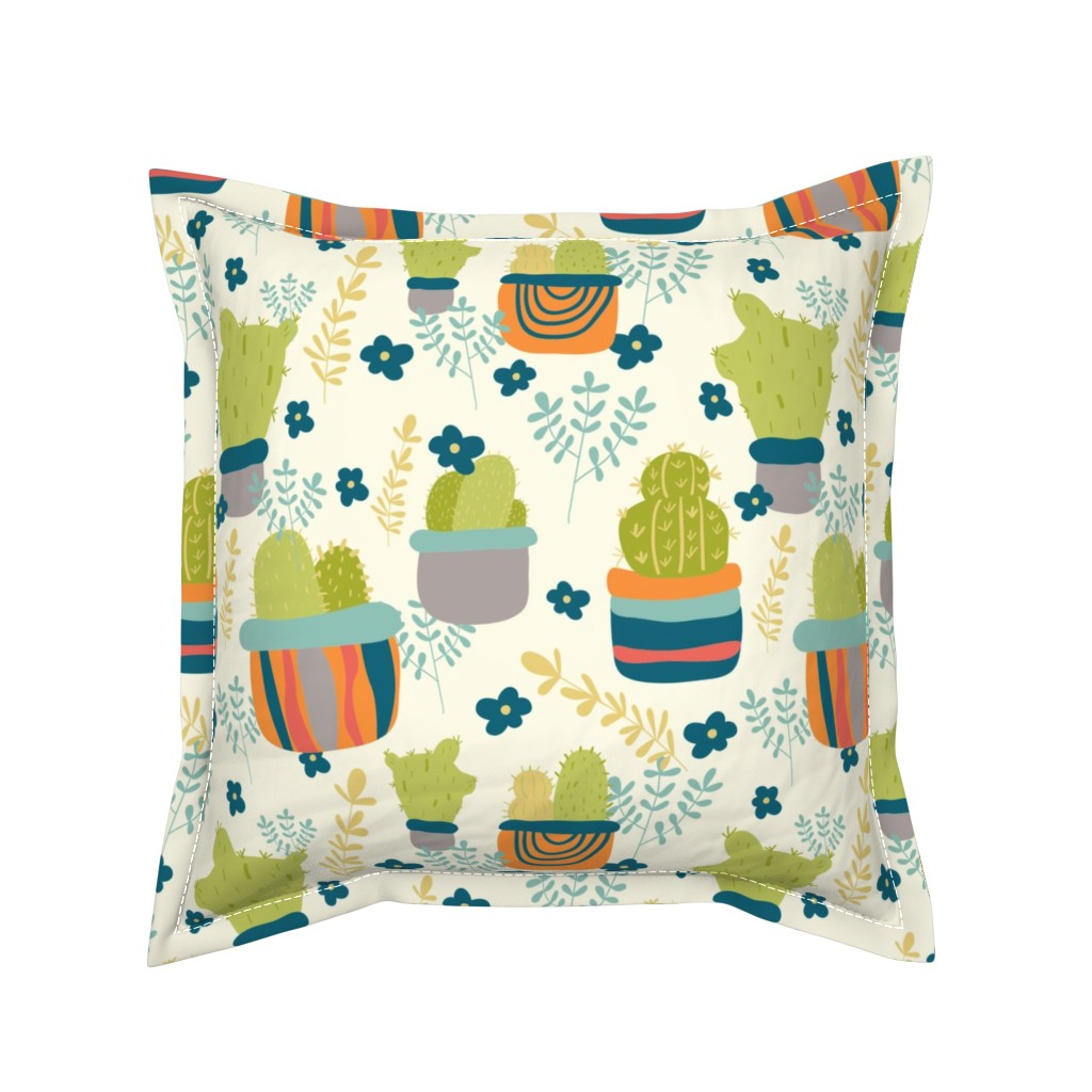 Serama Throw Pillow featuring Cactus Patch in Pots and Floral Background by studiojulieann