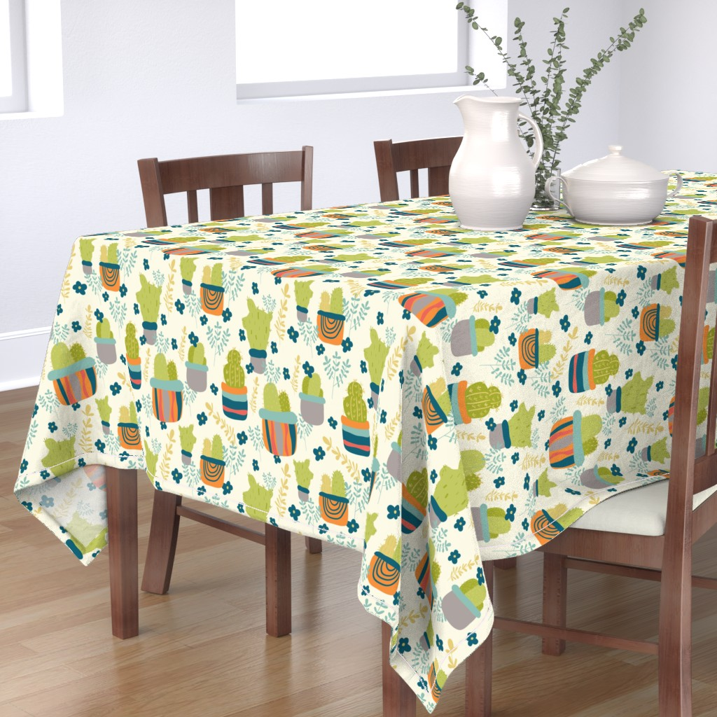 Bantam Rectangular Tablecloth featuring Cactus Patch in Pots and Floral Background by studiojulieann