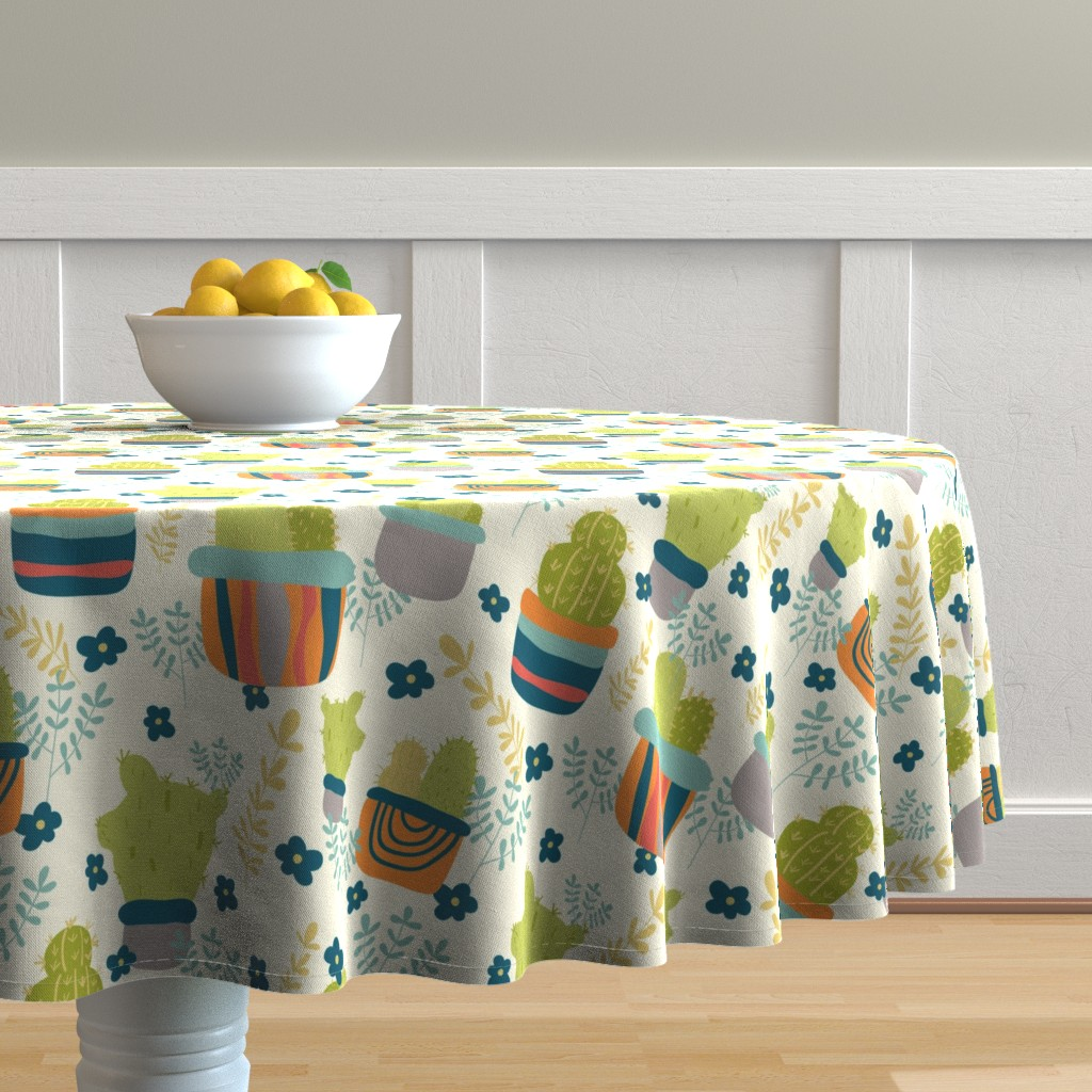 Malay Round Tablecloth featuring Cactus Patch in Pots and Floral Background by studiojulieann