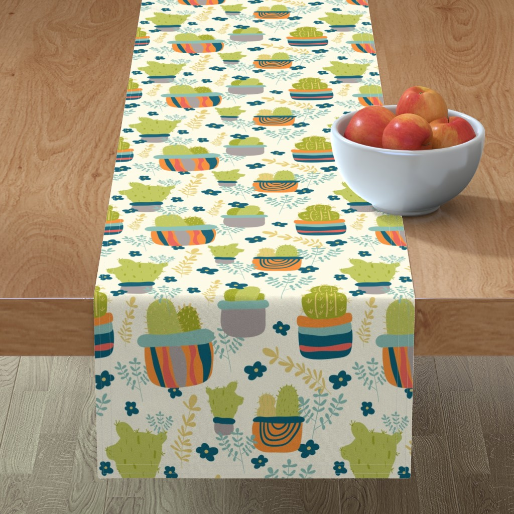 Minorca Table Runner featuring Cactus Patch in Pots and Floral Background by studiojulieann