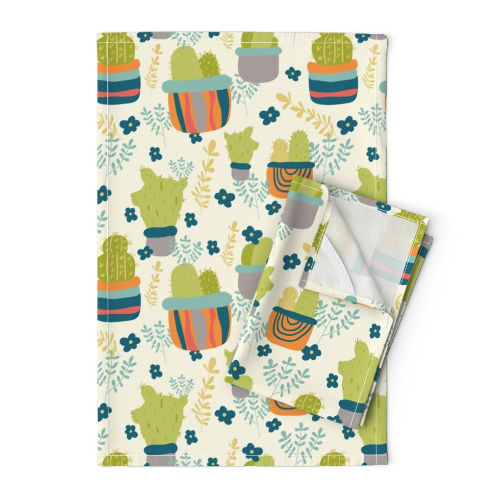 Orpington Tea Towels featuring Cactus Patch in Pots and Floral Background by studiojulieann