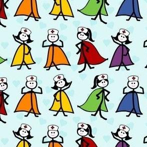 Superhero Nurses - Blue Background - Medium Scale