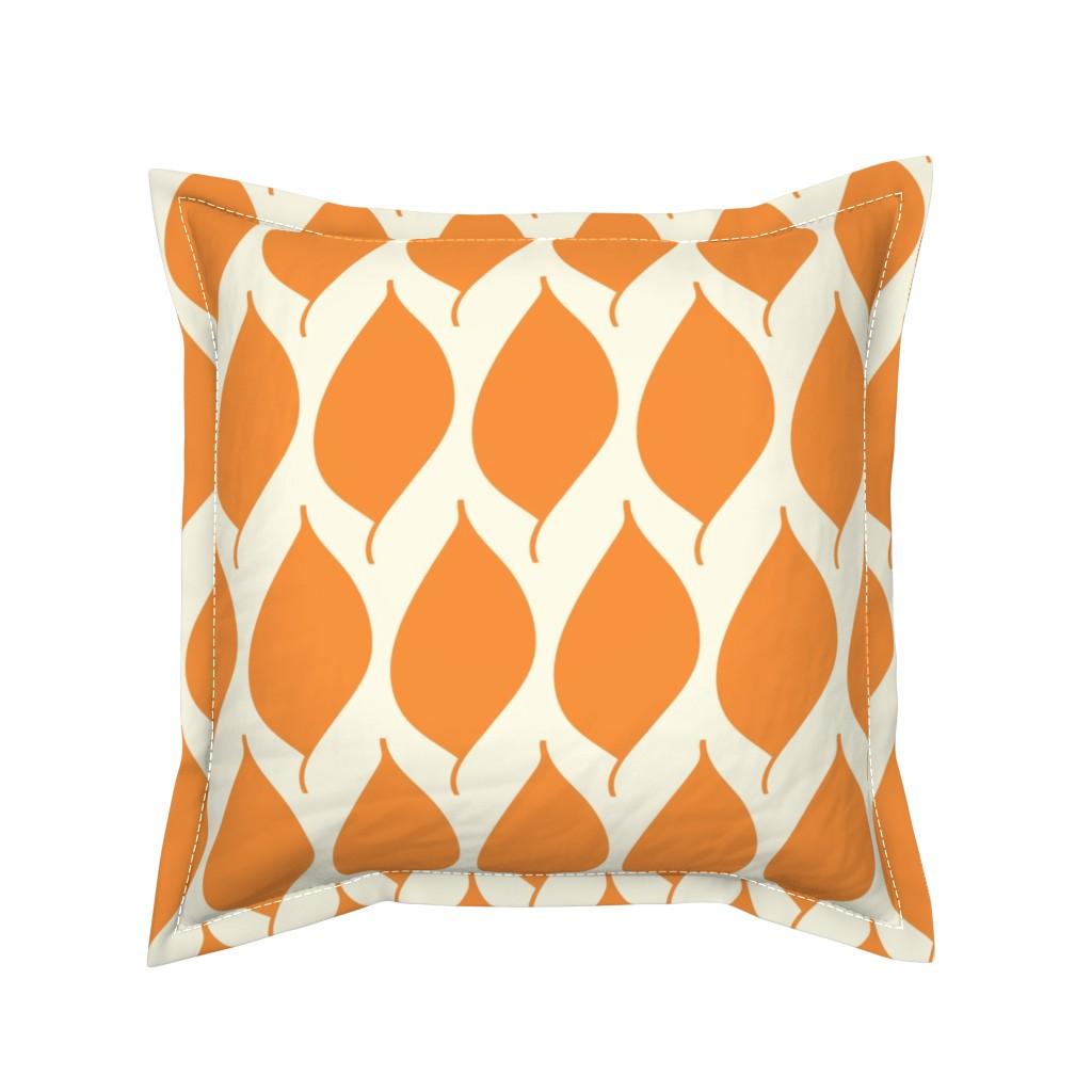 Serama Throw Pillow featuring Retro Orange Leaf by studiojulieann