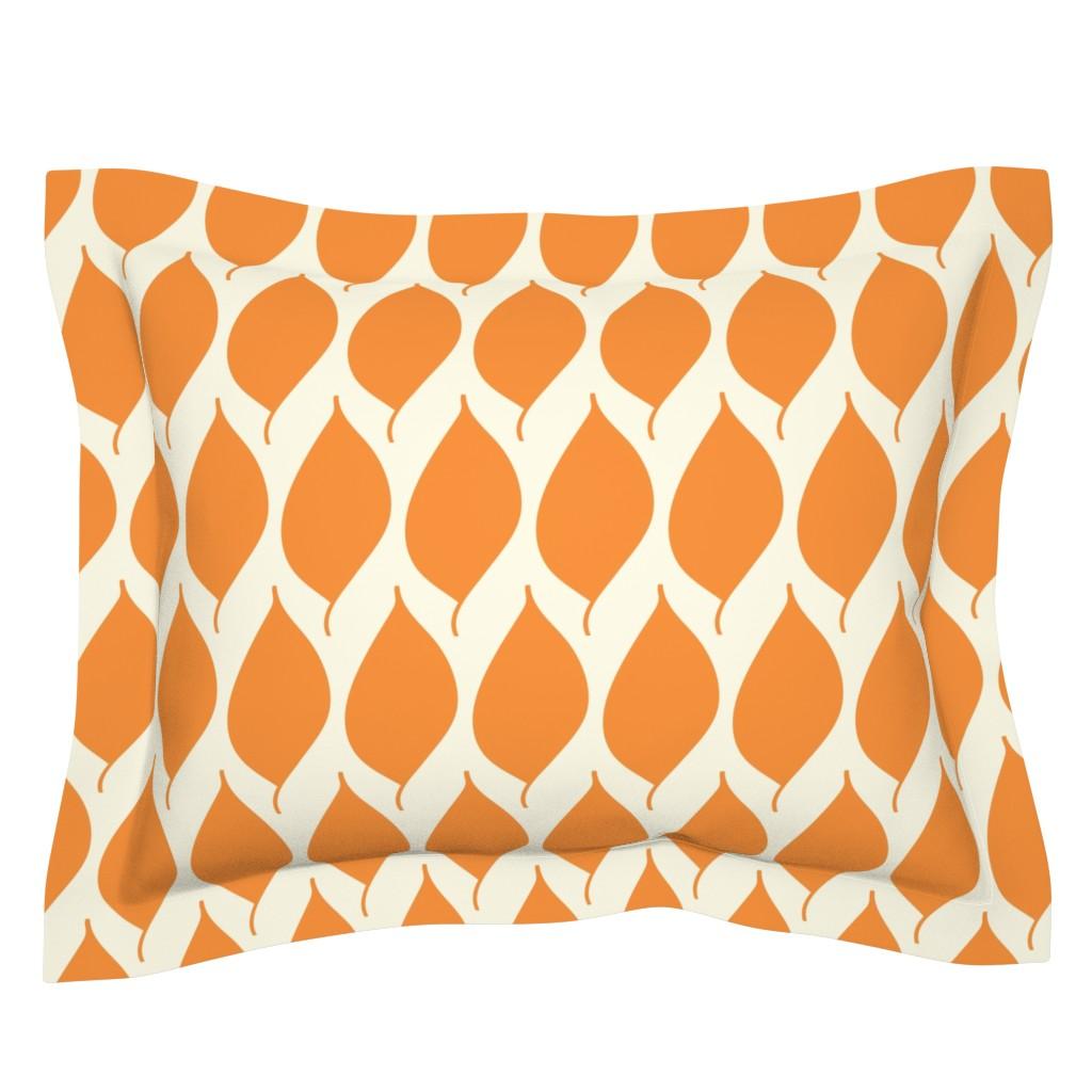 Sebright Pillow Sham featuring Retro Orange Leaf by studiojulieann