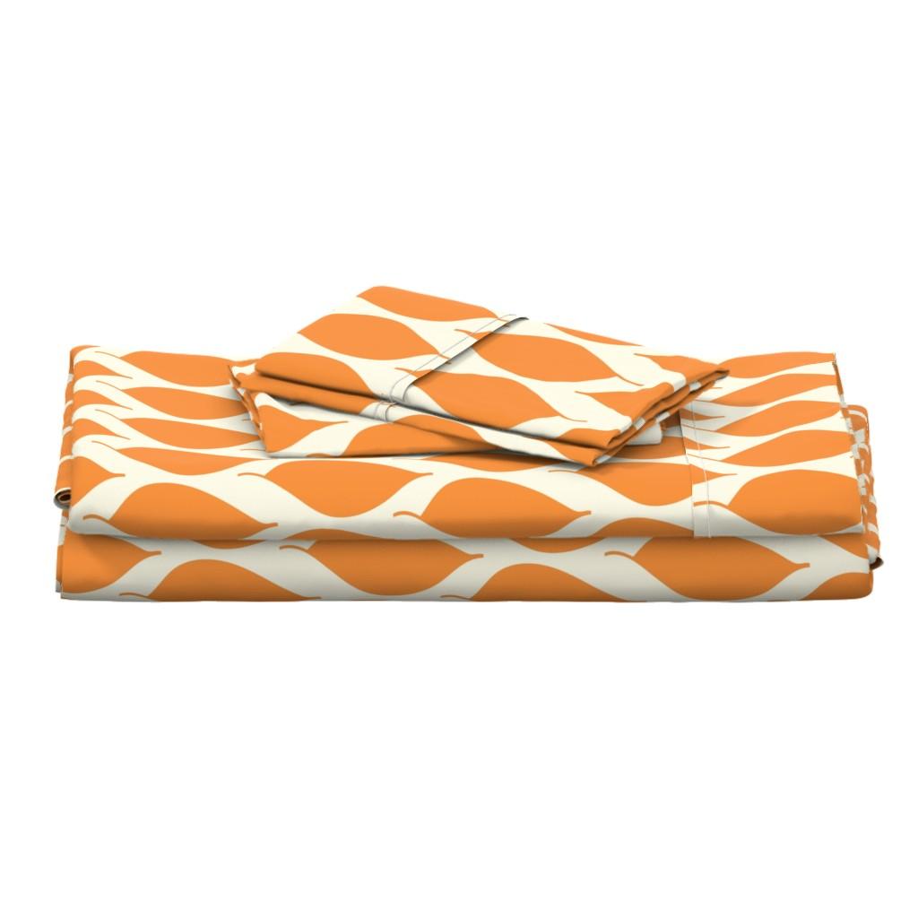 Langshan Full Bed Set featuring Retro Orange Leaf by studiojulieann