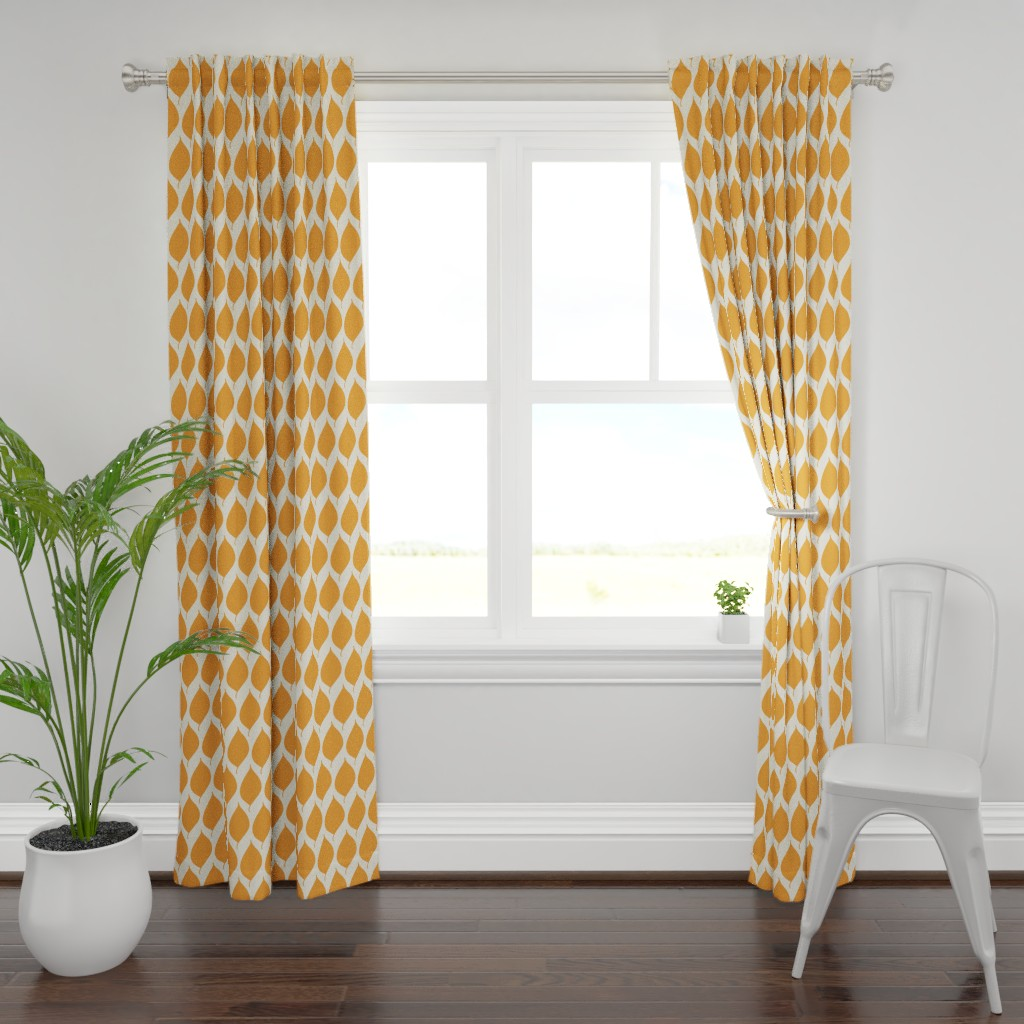 Plymouth Curtain Panel featuring Retro Orange Leaf by studiojulieann