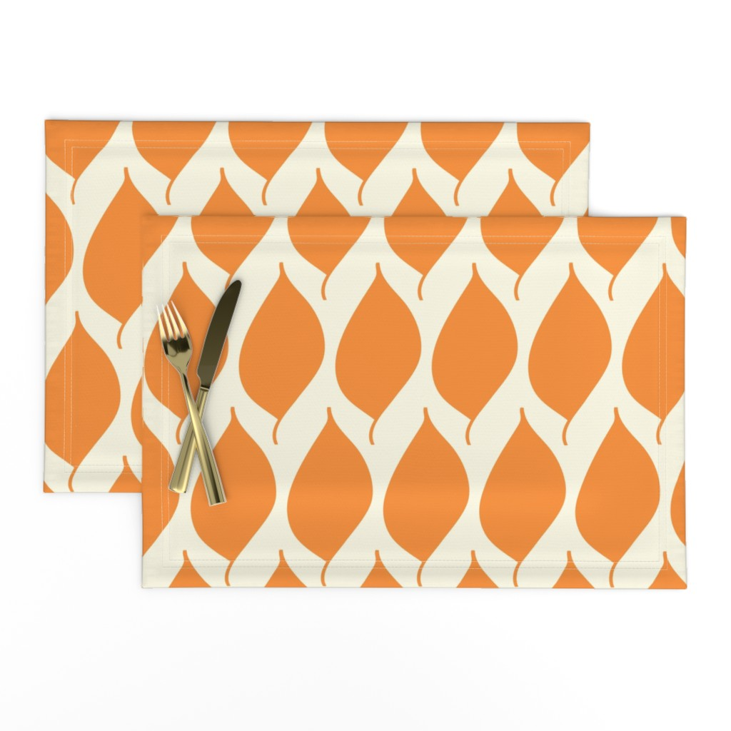 Lamona Cloth Placemats featuring Retro Orange Leaf by studiojulieann