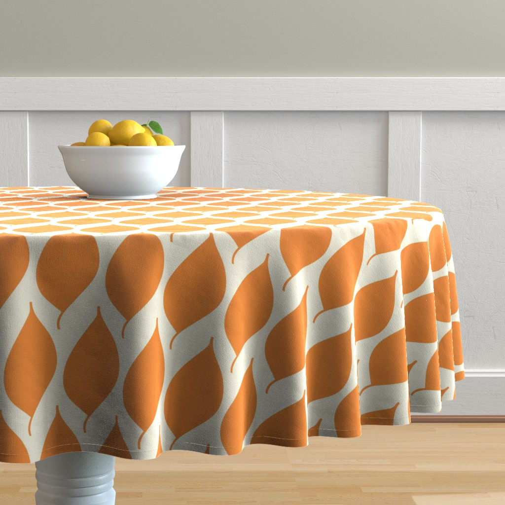 Malay Round Tablecloth featuring Retro Orange Leaf by studiojulieann