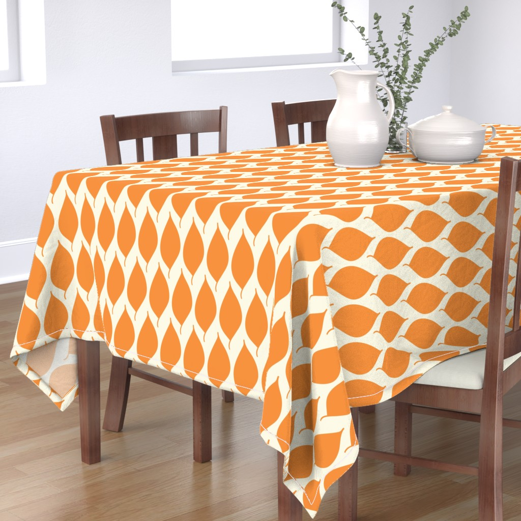 Bantam Rectangular Tablecloth featuring Retro Orange Leaf by studiojulieann