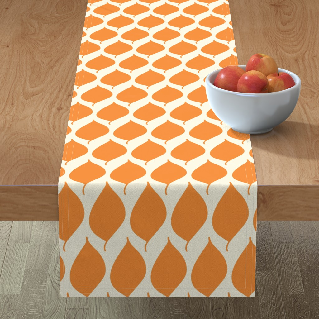 Minorca Table Runner featuring Retro Orange Leaf by studiojulieann