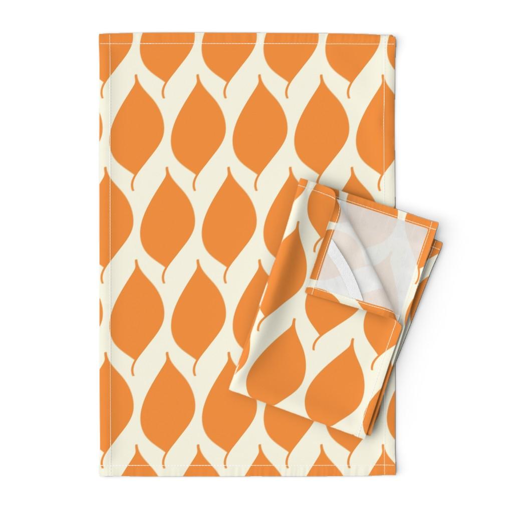 Orpington Tea Towels featuring Retro Orange Leaf by studiojulieann
